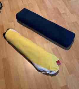 DIY Yoga Blanket Bolster on Left